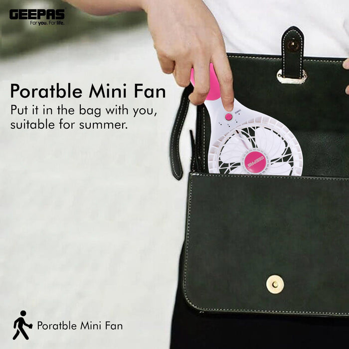 Geepas Rechargeable Mini Fan | Personal Portable Fan | Pink Fan Geepas | For you. For life.