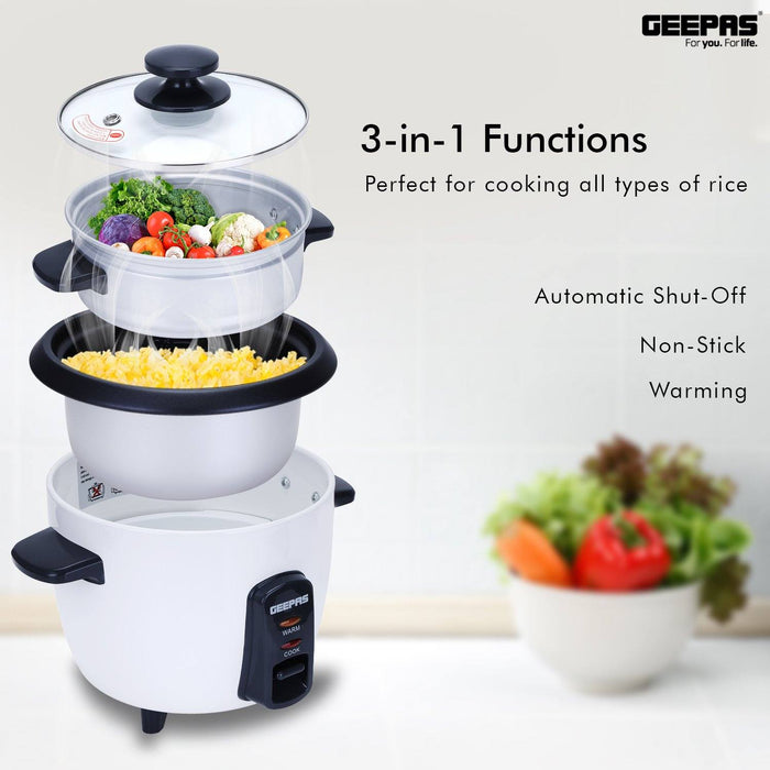 1.0L Rice Cooker with Steamer Rice Cooker Geepas | For you. For life.