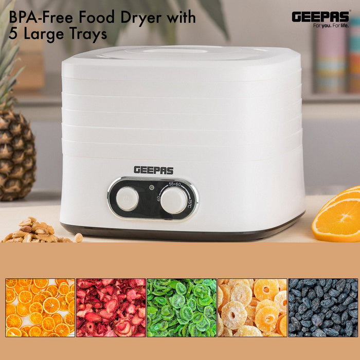 240W Food Dehydrator, BPA-Free Food Dryer with 5 Large Trays Specialty Appliances Geepas | For you. For life.