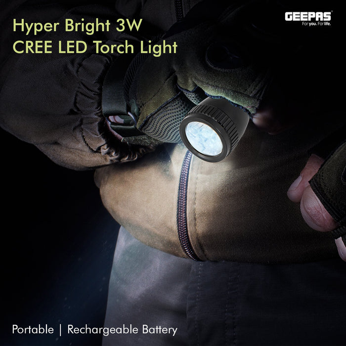 Rechargeable LED Flashlight, CREE LED Torch Lighting Geepas | For you. For life.