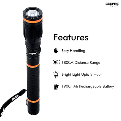 Rechargeable Waterproof LED Flashlight Lighting Geepas | For you. For life.