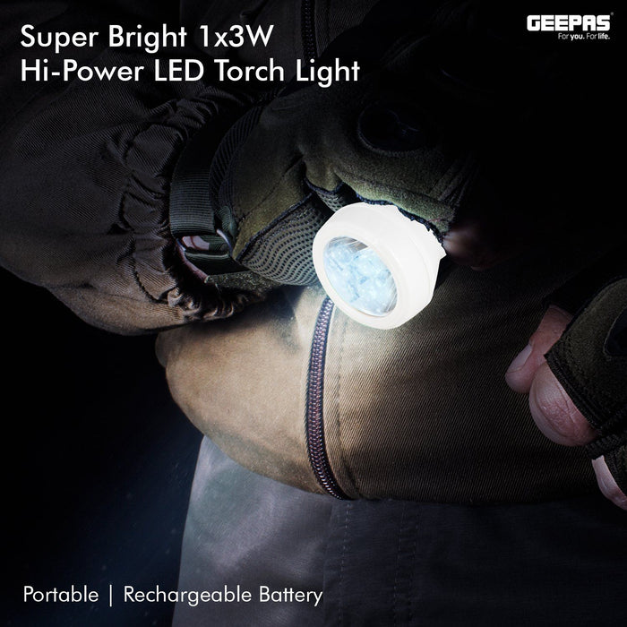 Rechargable Led Flashlight Lighting Geepas | For you. For life.