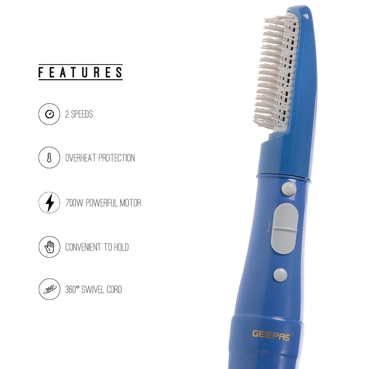 Hair Styler with 2 Speeds Settings | 700W |360° Swivel Cord