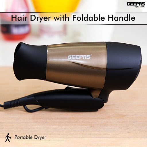 1600W Powerful Travel Hair Dryer with Foldable Handle Hair Dryer Geepas | For you. For life.