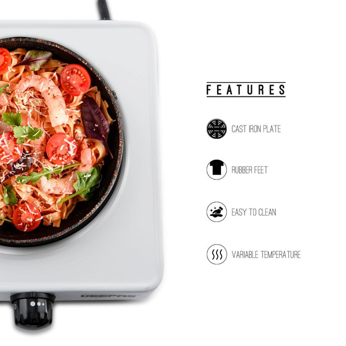 1000W Single Hot Plate For Table Top Cooking Cooker Geepas | For you. For life.