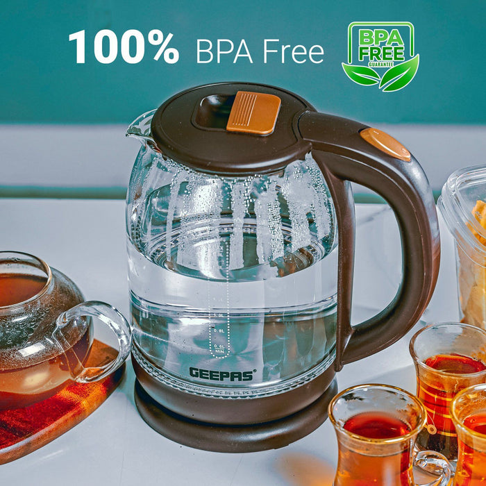 1.8L Illuminating Glass Kettle Kettle Geepas | For you. For life.