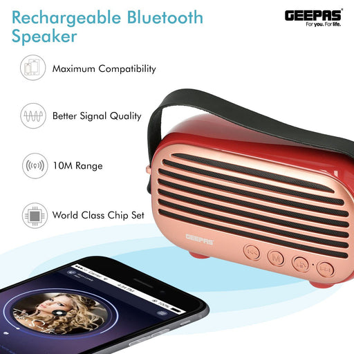 Rechargeable Bluetooth Speaker Speakers Geepas | For you. For life.