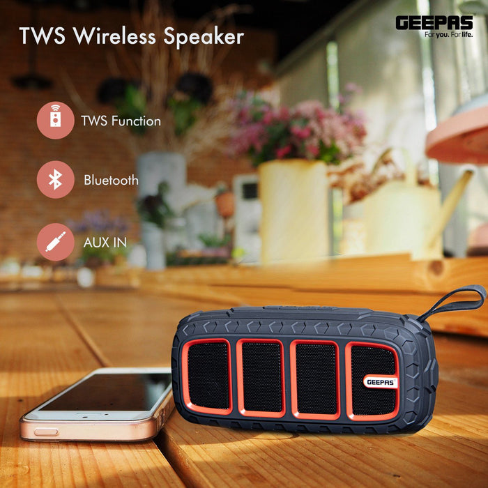 Portable Bluetooth Speaker Rechargeable MP3 Player USB/TF/AUX/FM/TWS Speakers Geepas | For you. For life.