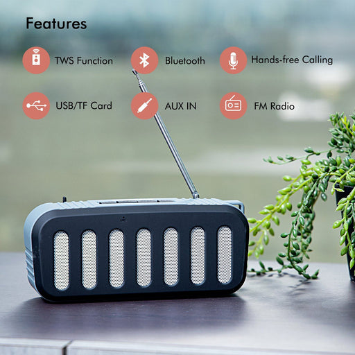 Rechargeable Bluetooth Speaker TWS Connection Portable USB/TF/AUX/FM/TWS Speakers Geepas | For you. For life.