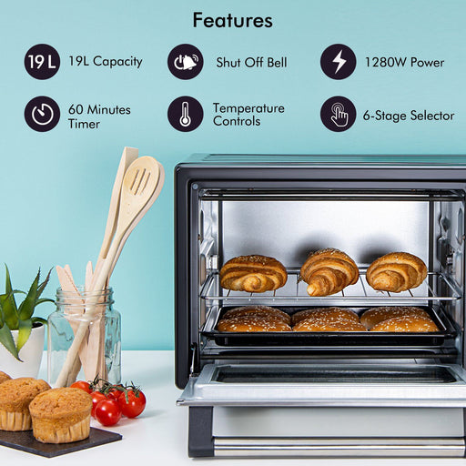 1280W Mini Oven and Grill, 19L Oven Geepas | For you. For life.