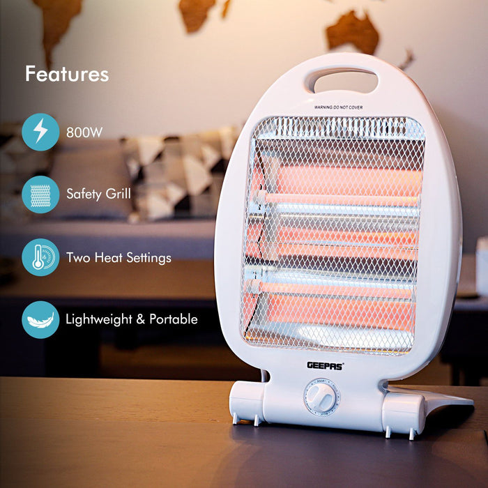 800W Quartz Halogen Heater Heaters Geepas | For you. For life.