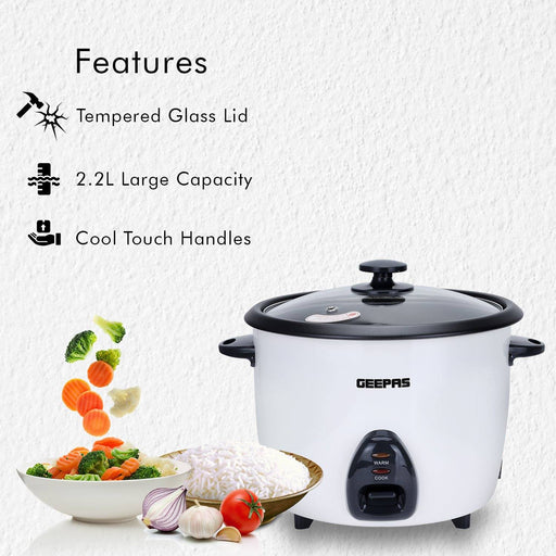 2.2L Rice Cooker with Steamer Geepas | For you. For life.
