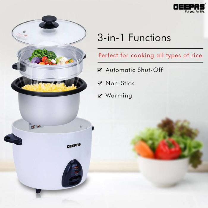 1.5L Rice Cooker with Steamer Rice Cooker Geepas | For you. For life.