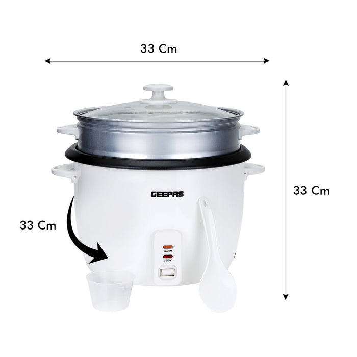 Geepas 2.8L Rice Cooker with Steamer | 1000W Cooker Geepas | For you. For life.