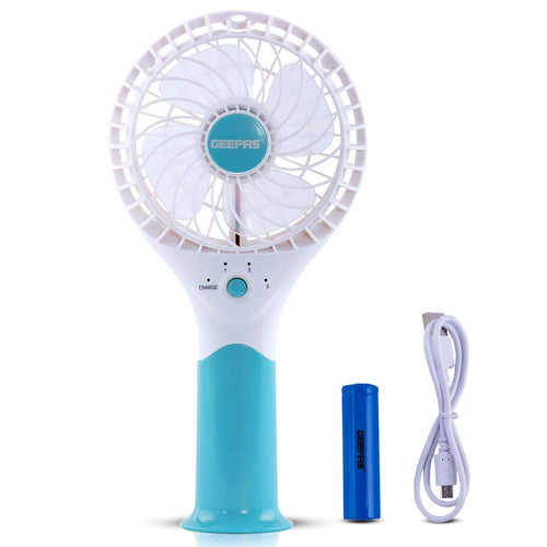Geepas Rechargeable Mini Fan | Portable Fan | Blue