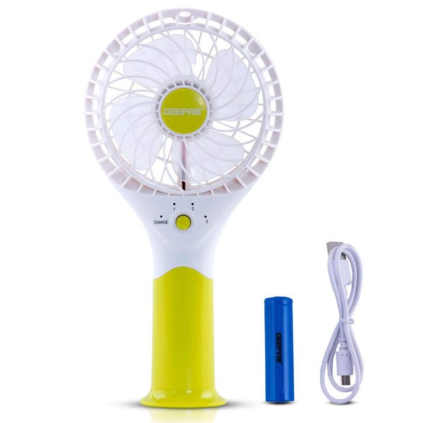 Geepas Rechargeable Mini Fan | Personal Portable Fan | Green