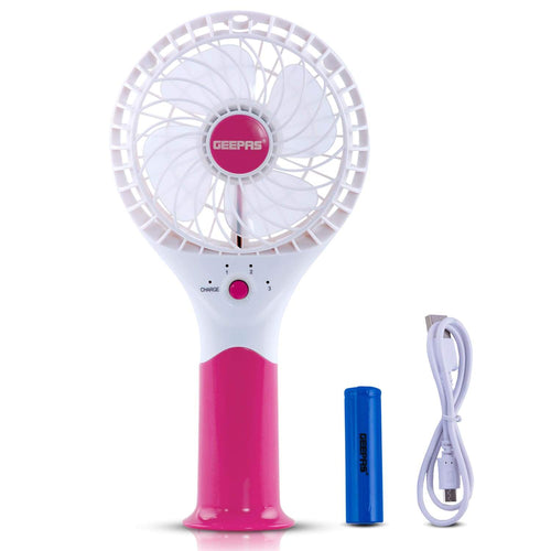 Geepas Rechargeable Mini Fan | Personal Portable Fan | Pink