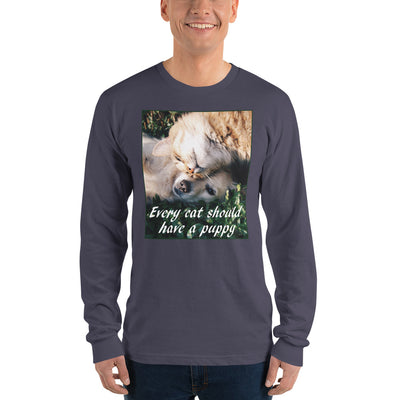 Every cat should have a puppy – American Apparel 2007 Unisex Fine Jersey Long Sleeve T-Shirt