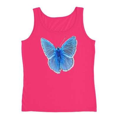 Blue Butterfly – Anvil 882L Ladies Missy Fit Ringspun Tank Top with Tear Away Label