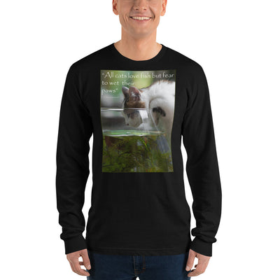 All cats love fish but fear to wet their paws – American Apparel 2007 Unisex Fine Jersey Long Sleeve T-Shirt