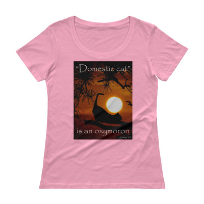 """Domestic cat"" is an oxymoron – Anvil 391 Ladies Sheer Scoopneck T-Shirt with Tear Away Label"