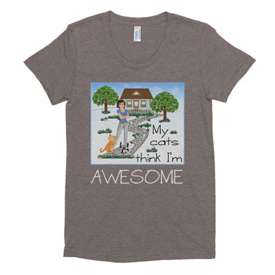 My cats think I'm awesome – American Apparel TR301W Women's Tri-Blend T-Shirt