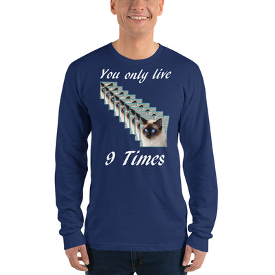 You only live 9 times – American Apparel 2007 Unisex Fine Jersey Long Sleeve T-Shirt