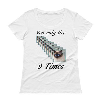 You only live 9 times – Anvil 391 Ladies Sheer Scoopneck T-Shirt with Tear Away Label