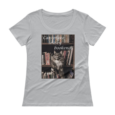 Cats make lousy bookends – Anvil 391 Ladies Sheer Scoopneck T-Shirt with Tear Away Label