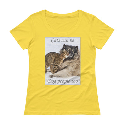 Cats can be dog people too – Anvil 391 Ladies Sheer Scoopneck T-Shirt with Tear Away Label