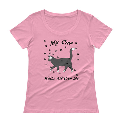 My cat walks all over me – Anvil 391 Ladies Sheer Scoopneck T-Shirt with Tear Away Label