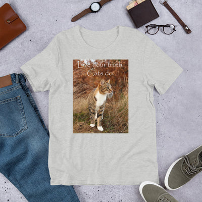 Live your truth.  Cats do. – Bella + Canvas 3001 Unisex Short Sleeve Jersey T-Shirt with Tear Away Label