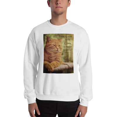 Time spent with cats is never wasted – Gildan 18000 Unisex Heavy Blend Crewneck Sweatshirt