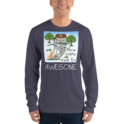 My cats think I'm awesome – American Apparel 2007 Unisex Fine Jersey Long Sleeve T-Shirt