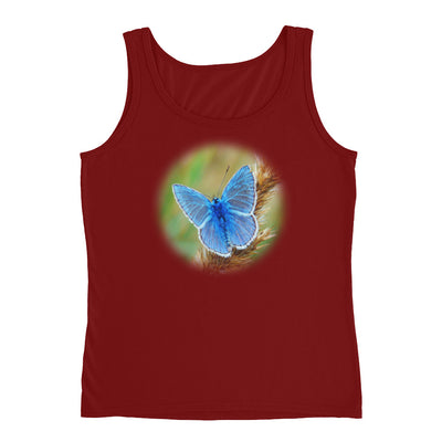 Blue Butterfly 2 – Anvil 882L Ladies Missy Fit Ringspun Tank Top with Tear Away Label