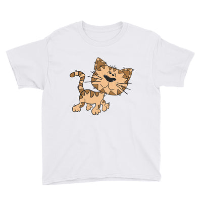 Brown and tan cat – Anvil 990B Youth Lightweight Fashion T-Shirt with Tear Away Label