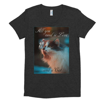 All you need is love and a cat – American Apparel TR301W Women's Tri-Blend T-Shirt