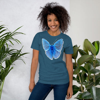 Blue Butterfly 1 – Bella + Canvas 3001 Unisex Short Sleeve Jersey T-Shirt with Tear Away Label