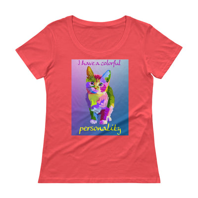 I have a colorful personality – Anvil 391 Ladies Sheer Scoopneck T-Shirt with Tear Away Label