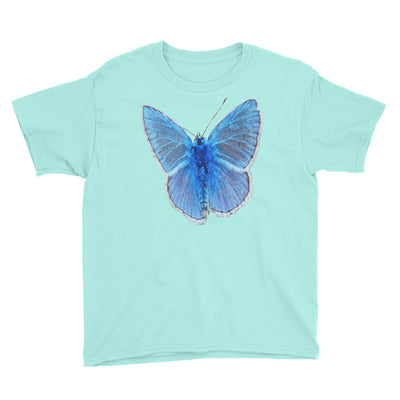 Blue butterfly 1 – Anvil 990B Youth Lightweight Fashion T-Shirt with Tear Away Label