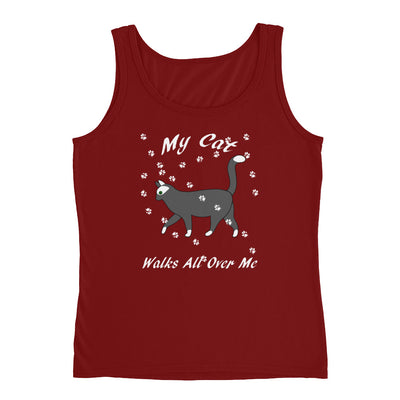 My cat walks all over me – Anvil 882L Ladies Missy Fit Ringspun Tank Top with Tear Away Label