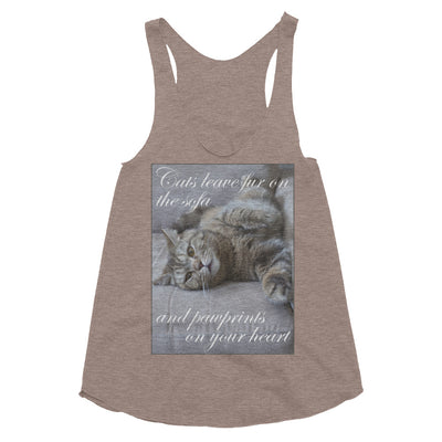 Cats leave paw prints on your heart – American Apparel TR308W Women's Tri-Blend Racerback Tank
