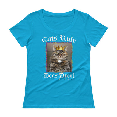 Cats Rule Dogs Drool – Anvil 391 Ladies Sheer Scoopneck T-Shirt with Tear Away Label