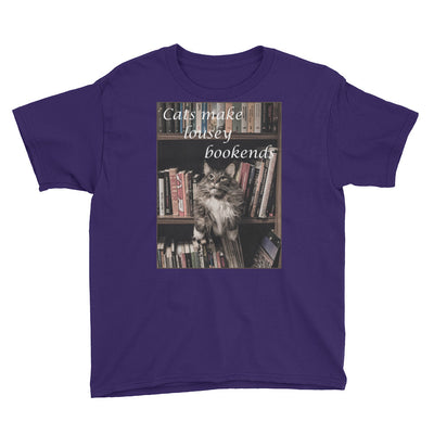 Cats make lousy bookends – Anvil 990B Youth Lightweight Fashion T-Shirt with Tear Away Label