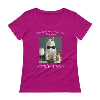 Cats have servants – Anvil 391 Ladies Sheer Scoopneck T-Shirt with Tear Away Label