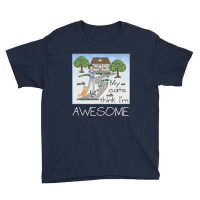 My cats think I'm awesome – Anvil 990B Youth Lightweight Fashion T-Shirt with Tear Away Label