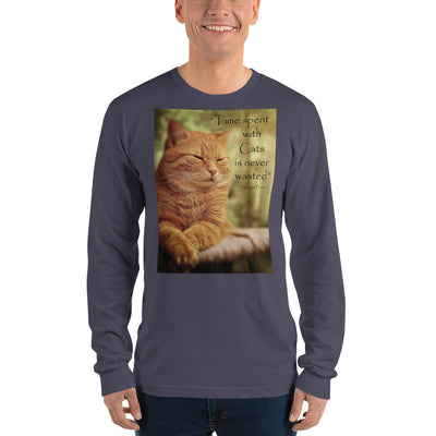 Time spent with cats is never wasted – American Apparel 2007 Unisex Fine Jersey Long Sleeve T-Shirt