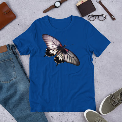 Black White Red Shouldered Butterfly 1 – Bella + Canvas 3001 Unisex Short Sleeve Jersey T-Shirt with Tear Away Label