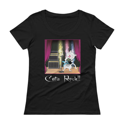 Cats Rock! – Anvil 391 Ladies Sheer Scoopneck T-Shirt with Tear Away Label