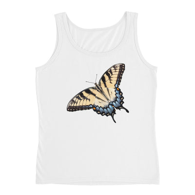 Yellow Swallowtail Butterfly – Anvil 882L Ladies Missy Fit Ringspun Tank Top with Tear Away Label